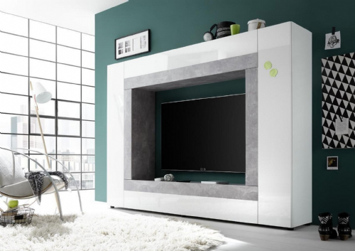 Spectra White and Concrete Grey Wall Entertainment Unit - 2938